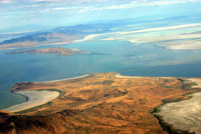 aerial shot of Wasatch front, Great Salt Lake, Utah
